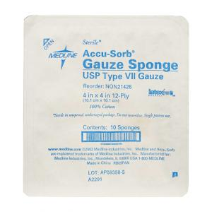 4 x 4 Sterile Gauze 10 ct Tray - 128 units