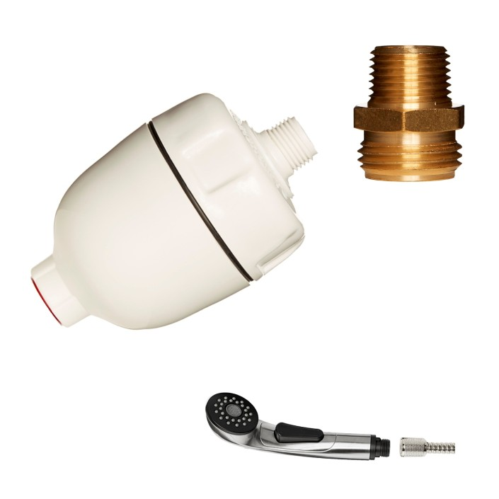 Dechlorinating Filter with Kitchen Faucet Sprayer Hose Adapters